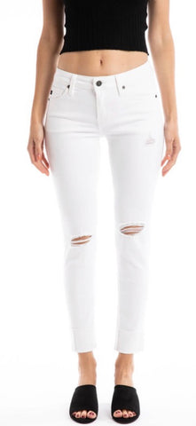 White distressed cuffed denim