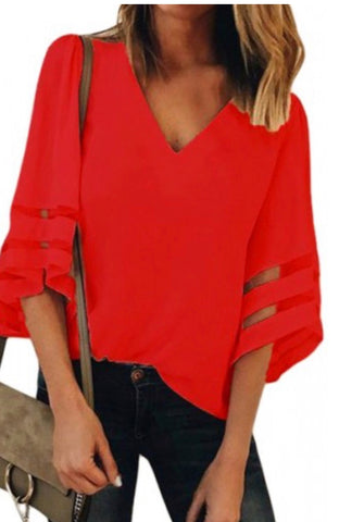 Red Flare Sleeve V Neck