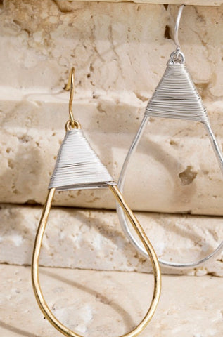 Tear Drop Metal Earrings with Wrapped Wire Accent