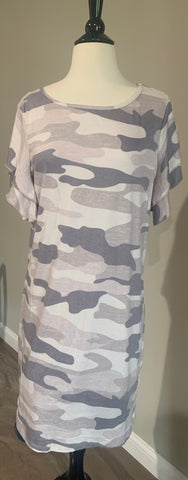 Camo T-shirt Dress With Ruffle Sleeves