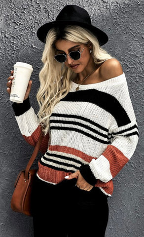 Rust Stripe Knit Sweater