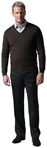 Knightsbridge Comfort Wool Men's Dress Pants, Expandable Waist - Flat Front