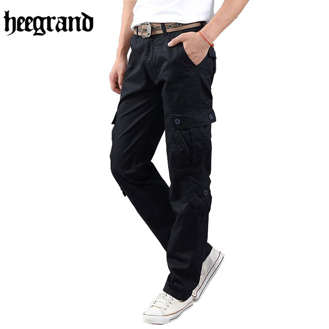 Hee Grand Cotton Polyester Cargo Men's Casual Pants, Multiple Pockets,
