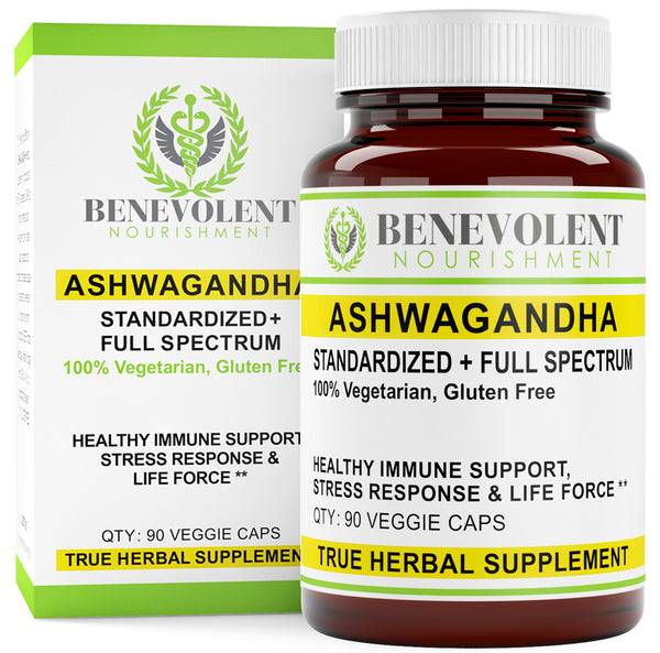 Ashwagandha Root Standardized + Full Spectrum 90 Veggie Caps