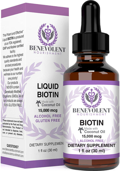 Liquid Biotin 15000 mcg (1OZ) - Benevolent Nourishment Shop