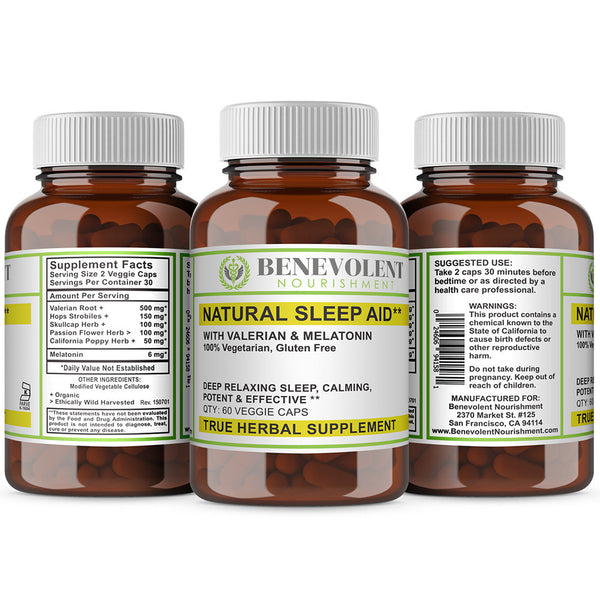 Natural Sleep Aid with Valerian & Melatonin 60 Veggie Caps - Benevolent Nourishment Shop