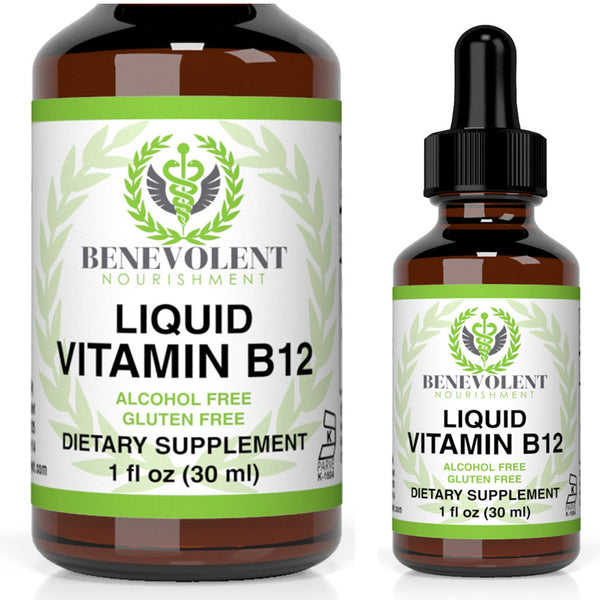 Liquid Vitamin B12 Sublingual Drops (1 oz) - Benevolent Nourishment Shop