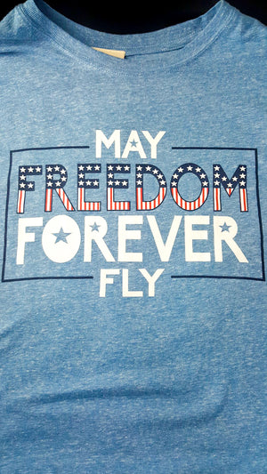 May Freedom Forever Fly - Graphic Tee - Purple Dot Fashion