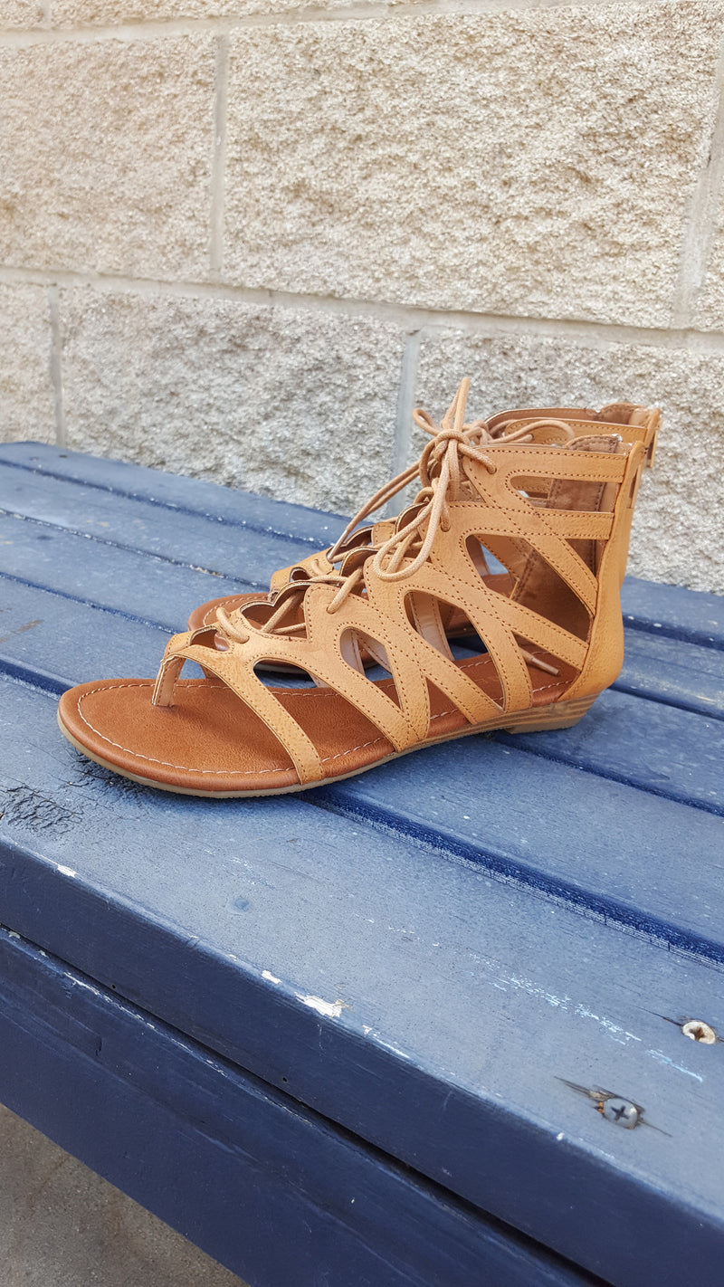 The Blanca Gladiator Sandals - Brown - Purple Dot Fashion