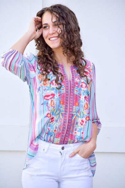 A Thing Of Beauty Embroidered Multi Color Blouse - Purple Dot Fashion