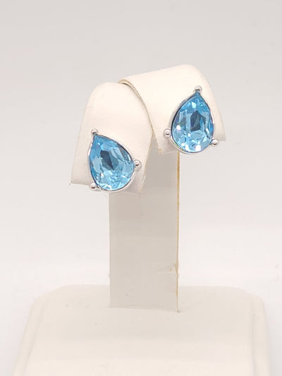 Annaleece Swarovski Baby Blue Silver stud Earrings - #shop_name