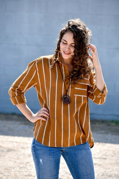 Beside You Mustard Yellow Striped Top - Purple Dot Fashion