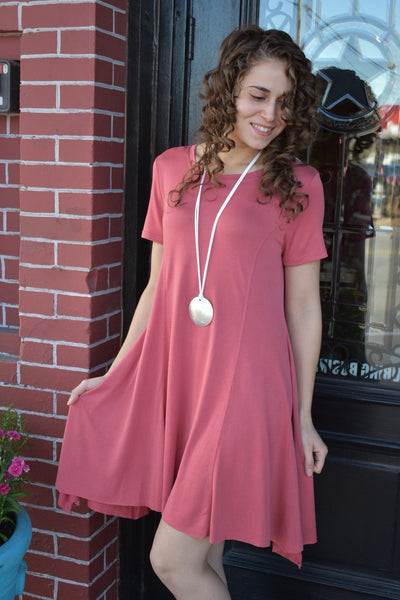 Candy Girl Mauve T-Shirt Dress - Purple Dot Fashion