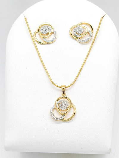 Gold Floral Design Fashion Necklace - Purple Dot Fashion