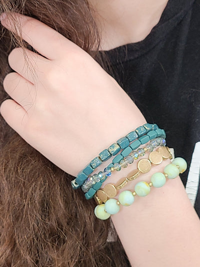 Green Earth Beaded Stretch Bracelets - #shop_name