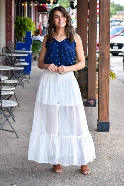 Holy Spirit White Maxi Skirt - Purple Dot Fashion