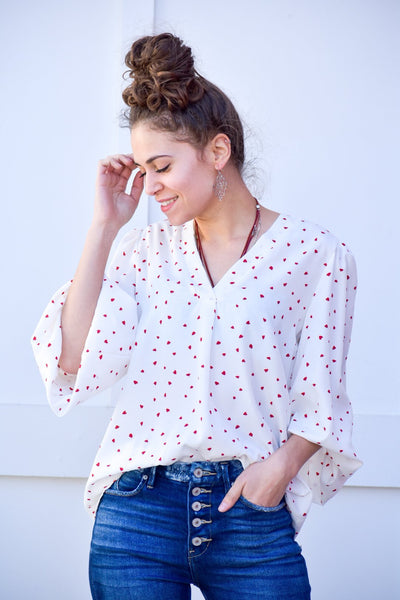 I Am Yours White Blouse With Hearts - #shop_name