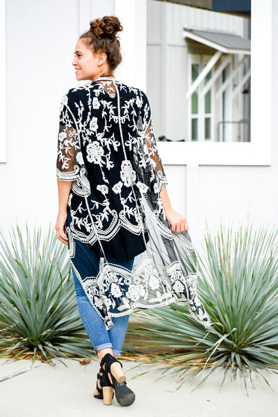 I Will Follow Black and White Embroidered Duster Cardigan - #shop_name