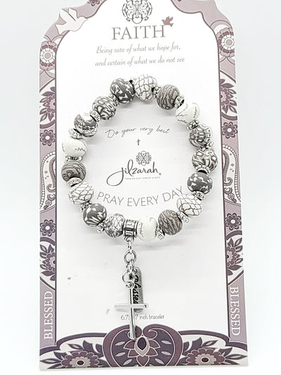 Jilzarah Grey Faith Bracelet - Purple Dot Fashion