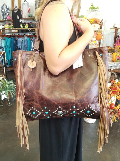 Leather with Turquoise Studs Tote Bag - Purple Dot Fashion