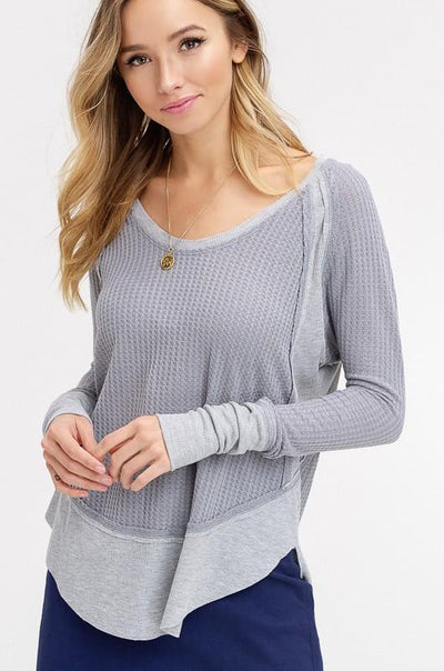 Non Stop Sweater - Gray - Purple Dot Fashion