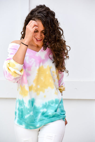 Power Of Your Love Tie Dye Pullover Sweater - Purple Dot Fashion