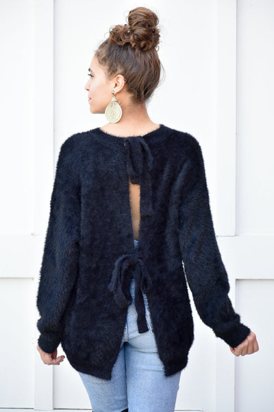 Shape Of You Black Furry Tied Back Sweater - #shop_name
