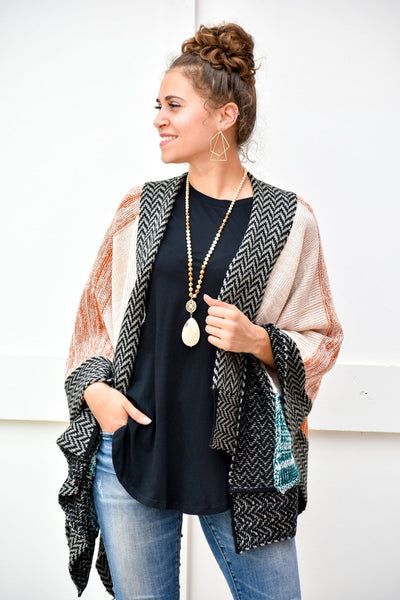 So Much Better This Way Rust and Teal Kimono - #shop_name