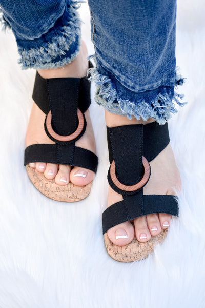 Stazie Black Linen Wedge Sandal - Purple Dot Fashion
