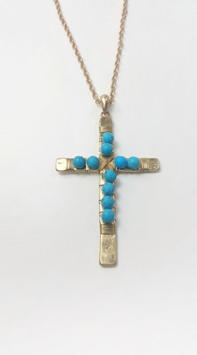 Tellies Turquoise Cross Necklace and Earrings Set - Purple Dot Fashion