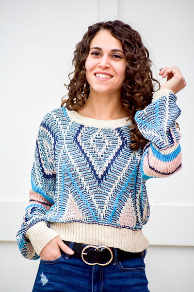 Trusting Your Word Cobalt Blue Knit Sweater - #shop_name