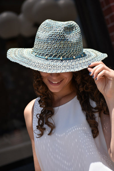 Turquoise Straw Hat - Purple Dot Fashion