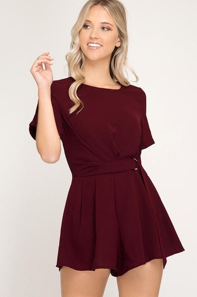 We Believe Romper - Burgundy - Purple Dot Fashion