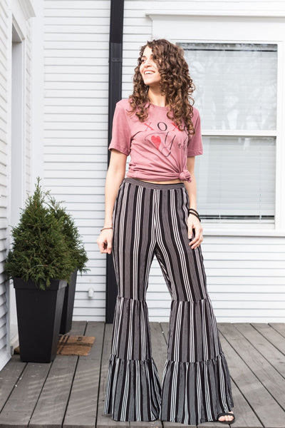 Where Would I Be Black And White Striped Flared Pants - Purple Dot Fashion