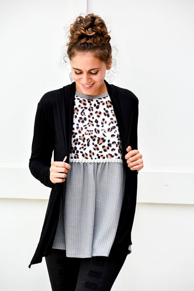 Win My War Black Cardigan - Purple Dot Fashion