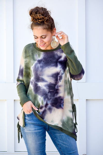 You Are Faithful Olive Laced Up Tie Dye Sweater - Purple Dot Fashion