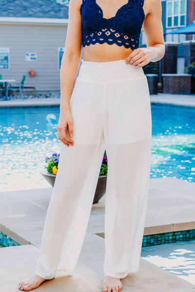 Your Name Is Power White Palazzo Pant - Purple Dot Fashion