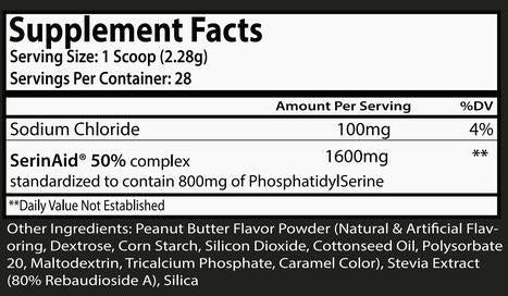 Peanut Butter Cortisolve Supplement Facts - Peanut Butter