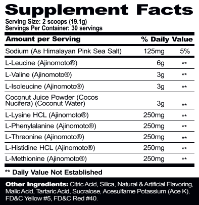 Mpa PharmGrade EAA Tangerine Crush supplement facts