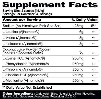 Mpa PharmGrade EAA supplement facts