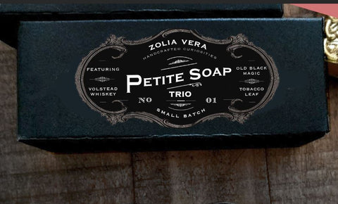 Petite Soap Trio | 01 | Volstead Whiskey Bar, Old Black Magic Bar, Tobacco Leaf Bar