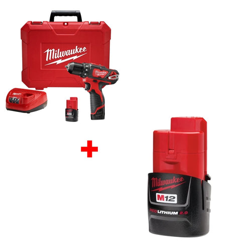 "Milwaukee 2407-22 M12 3/8"" Drill/Driver Kit w/ FREE 48-11-2420 2.0 Battery Pack"