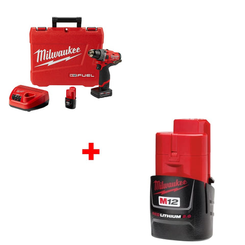 "Milwaukee 2504-22 M12 1/2"" Hammer Drill Kit w/ FREE 48-11-2420 2.0 Battery Pk"