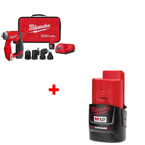 Milwaukee 2505-22 M12 FUEL Drill/Driver Kit w/ FREE 48-11-2420 2.0 Battery Pack