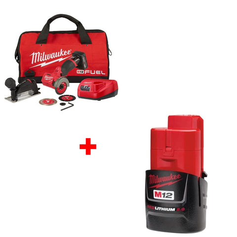 "Milwaukee 2522-21XC M12 3"" Cut Off Tool Kit w/ FREE 48-11-2420 2.0 Battery Pk"