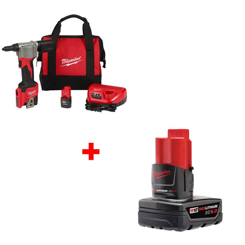 Milwaukee 2550-22 M12 Rivet Tool Kit w/ FREE 48-11-2460 XC6.0 Battery Pack