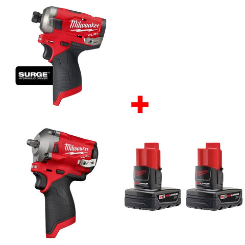 "Milwaukee 2551-20 1/4"" Hydraulic Driver w/ 3/8"" Impact Wrench & FREE Battery 2pk"