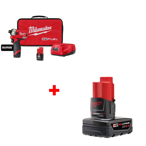 "Milwaukee 2551-22 M12 FUEL 1/4"" Hex Hydraulic Driver Kit w/Free 6.0 Battery"