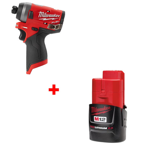 "Milwaukee 2553-20 M12 Fuel 1/4"" Hex Impact Driver - Bare w Free M12 2.0 Battery"