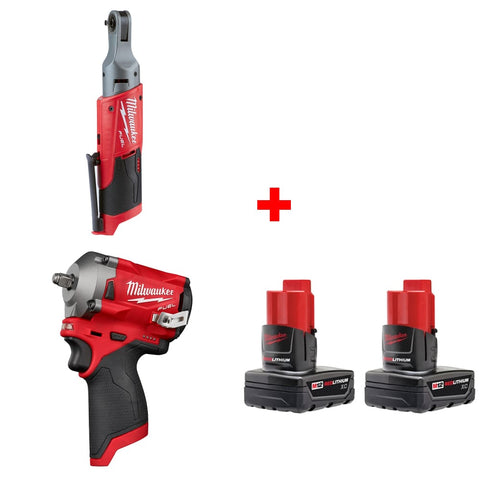 "Milwaukee 2556-20 M12 1/4"" Ratchet w/ 3/8"" Impact Wrench & FREE Battery 2pk"